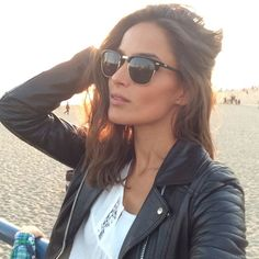leather jacket ray-ban clubmaster sunglasses