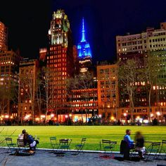Bryant Park at night by Gigi Altarejos - The Best Photos and Videos of New York City including the Statue of Liberty, Brooklyn Bridge, Central Park, Empire State Building, Chrysler Building and other popular New York places and attractions.