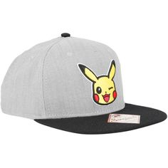 Nintendo Pokemon Pikachu Chambray Snapback Hat ($15) ❤ liked on Polyvore featuring accessories, hats, multi, embroidery hats, nintendo, gray hat, snap back hats and grey snapback hats
