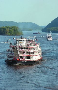 The Delta Queen steams north on the Mississippi River during the Grand Excursion.