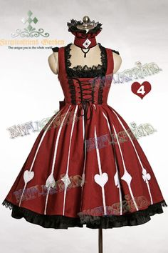 Alice Lolita: Card & Stripe Corset JSK/Dress & Ruff Choker*3color Instant Shipping