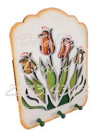 Perchero de tulipanes imitación vitral - Detalles Loyola