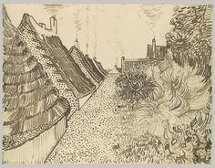 In the summer of 1888, Van Gogh, who was then living in Arles, made a trip to the small Mediterranean fishing village of Saintes-Maries de la Mer, where he made a painted view of this street with its thatched roofs and smoking chimneys. This drawing was one of fifteen that were sent, in the month of July alone, to Van Gogh's friend, the artist Émile Bernard.