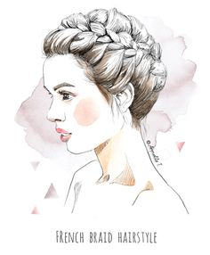 French braid hairstyle - Illustration by Armelle Tissier