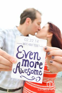 How clever is this save-the-date idea? Love that this couple showcased their creativity! Engagement Session, Engagement Photos, Engagement Inspiration, Street Photo, Save The Date Cards, Wedding Bells, Wedding Stationery, Getting Married, Wedding Planning