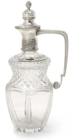 A FABERGÉ SILVER-MOUNTED CUT GLASS DECANTER, MOSCOW, 1899-1908