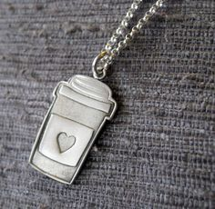 Cup of coffee necklace in sterling silver by Fingerprince from Greece