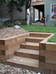 how to build raised flower beds with landscape timbers garden stairs photos steps stairs better building flower beds landscape timbers Landscape Stairs, Landscape Timbers, Landscape Design, Garden Design, Landscape Architecture, Landscape Bricks, Garden Retaining Wall, Sloped Garden, Retaining Wall With Steps