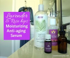 How to make a homemade anti-aging and acne serum with rose hips and lavender essential oil. It can even reduce acne scars!!  #acne #antiagin...