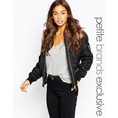 Vero Moda Petite Ultility Bomber With Faux Fur Collar (€98) ❤ liked on Polyvore featuring outerwear, black, petite and vero moda