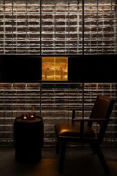 Secret Bar, Comfy Armchair, Dark Color Palette, Tile Covers, Glass Brick, Bar Interior, Interior Design, Interior Ideas, Under The Lights