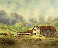 """""""Mission Santa Ines"""" by Edwin Deakin. On Display at the Santa Barbara Mission Archive Library. www.fineartconservationlab.com"""