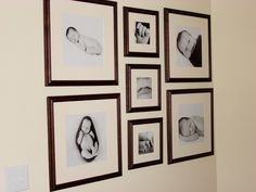 I always love it when clients get excited to create a wall display in their home with images from our session. A grouping of three or more images can really Baby Photo Collages, Photo Wall Collage, Picture Wall, Picture Collages, Baby Photo Gallery, Gallery Wall, Photowall Ideas, Picture Arrangements, Frame Arrangements