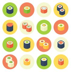 How to Create a Flat Design Rolled Sushi Icon Set in Adobe Illustrator by Yulia Sokolova, The increasing popularity of rolled sushi has resulted in the spread of this dish around the world. Nowadays, there are so many variations and fillings that. Icon Design, Flat Design Icons, Web Design, Graphic Design Tutorials, Vector Design, Flat Icons, Adobe Illustrator Tutorials, Photoshop Illustrator, Mobile App