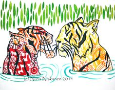 Colors of India Two Tigers Animal Wildlife by fairychamber on Etsy, €47.00