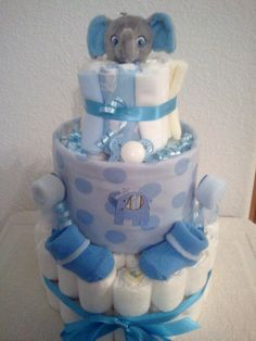 Blue Elephant Diaper Cake Baby Shower Gift by TheDiaperCakeBakers, $50.00