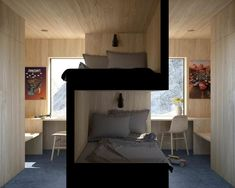 Bunk beds design and room ideas. Most amazing bunk beds for kids. Designing bunk beds that you might like. Small Apartments, Small Spaces, Small Space Bed, Small Space Design, Kid Spaces, Sibling Bedroom, Siblings Sharing Bedroom, Bedroom For Twins, Shared Bedroom Kids