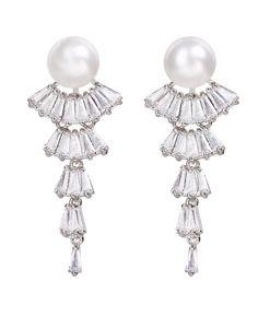 Cercei mireasa evantai cu zirconii Baroque, Swarovski, Pearl Earrings, Pearls, Jewelry, Fashion, Moda, Pearl Studs, Jewlery