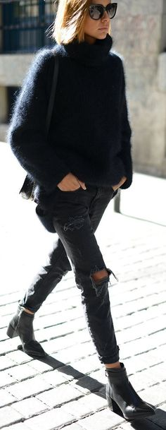 #fall #fashion / ripped jeans + fluffy knit