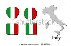 flag and map of  Italy, vector illustration, graphic design, flag  Italy, map  Italy - stock vector