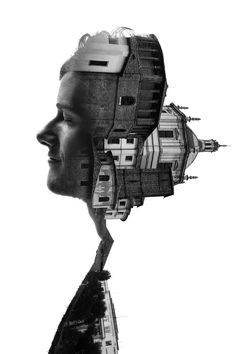 """Getting a glimpse of Milan as a historic and modern city. Francesco Paleari shows us how """"Milan in the profiles of the people who live it every day."""" Using double exposures to create artful compositions blending a portrait of a Milanese person with one of Milan's architectural gems."""