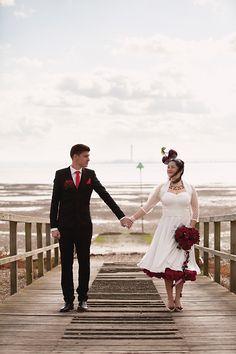 Cute real-life, retro, kitsch Southend-on-Sea wedding, featuring cherries as a central motif. Seaside Wedding, Red Wedding, Essex Girls, Bride Entry, Rockabilly Wedding, Love Is When, Wedding Inspiration, Wedding Ideas, Wedding Pictures