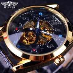 Buy Winner Fashion Casual Black Dial Golden Case Designer Men Watches Top Brand Luxury Automatic Skeleton Luxury Watch Men Clock Men at Wish - Shopping Made Fun Stylish Watches, Luxury Watches For Men, Cool Watches, Mens Watches Rolex, Skeleton Mechanical Watch, Skeleton Watches, High End Watches, Swiss Army Watches, Expensive Watches
