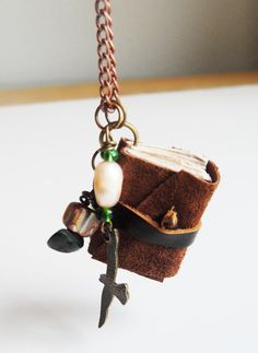 Handmade Mini Leather Brown Book Necklace with by UselessPaper