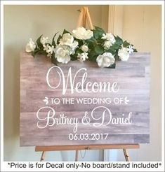 Welcome Wedding Decal Personalized Couples Names and Dates Vinyl Decal for Wedding Sign DIY Lettering Elegant Wedding Decor #wedding #weddingsign #welcome #welcomesign #weddingwelcomesign #weddingideas #weddingflowers #personalizedsign #affiliate #weddingdecoration