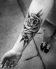 Sketch Style Rose Tattoo by Inez Janiak