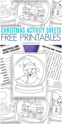 Free Snowglobe Christmas activity sheets for kids - colouring pages, word search. - Free Snowglobe Christmas activity sheets for kids – colouring pages, word search and word scrambl - Christmas Printable Activities, Christmas Activities For Toddlers, Winter Crafts For Kids, Printable Crafts, Holiday Activities, Free Printables, Kids Crafts, Christmas Worksheets, Christmas Colors