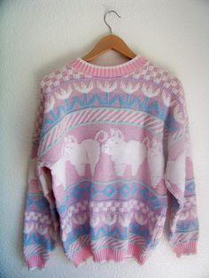 80s // 90s L PIGGY Pastel Knit Sweatshirt  by DaizyLemonade, $68.00