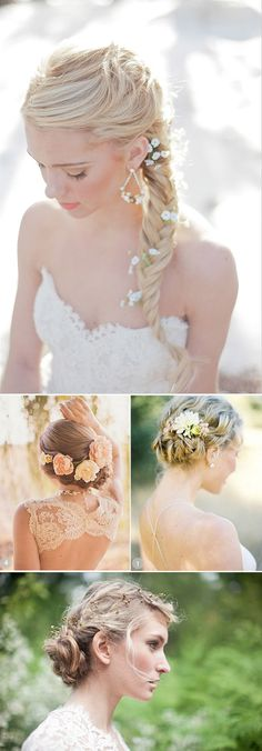 Recogidos para novias con flores naturales en el pelo. Romantic wedding hairstyles. Party Hairstyles, Cute Hairstyles, Wedding Hairstyles, Romantic Wedding Hair, Dream Wedding, Wedding Make Up, Bridal Hair And Makeup, Hair Makeup, Colored Hair Tips