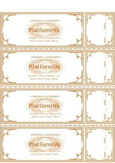 Platform 9 3/4 Ticket Printable / from I Do on a Dime / Round up by Busy Mom's…