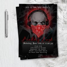 Dj Skull Mens Birthday Party Invitation, Music Club DeeJay Party Flyer Invites, Printed or Printable 21st, 18th, 20th, 30th, 40th 80s  90s 21st Birthday Invitations, Bachelorette Party Invitations, Invites, Print Packaging, Party Flyer, Invitation Design, Fall Halloween, Halloween Ideas, 30th