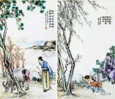 民国 王琦粉彩绘人物故事图瓷板 (一对)