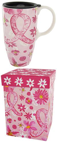 Pink Ribbon Floral Travel Mug at The Breast Cancer Site
