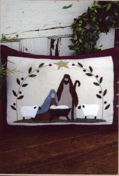 Bunny Hugs Silent Night The Pattern Hutch wool applique craft pattern nativity pillow