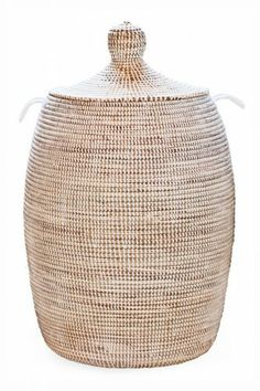 A Timeless Enchanting Laundry Hamper For Your Home African In Pearl Lidded With Side Handles Certified Fair Trade Woven Basket Is