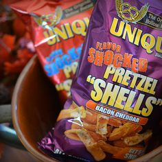 """Add a dose of """"Unique"""" to your next gathering. Look for our Flavor Shocked Pretzel """"Shells"""" in a snack aisle near you or grab them online at UniquePretzels.com. #pretzelshells #getshocked"""