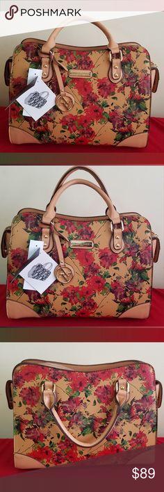 74476110684f Adrienne Vittadini Tan Floral Satchel Handbag NWT Adrienne Vittadini  Satchel - MSRP   190.00 - Height