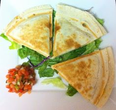 Eat Yourself Skinny!: Cheese Quesadillas. If you don't have a quesadilla maker like her (I don't), a griddle, skillet, or electric skillet will do just fine. Just brown on each side for, I'd say, about 3 minutes on each side, and they're ready!