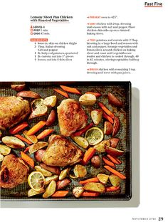 Lemony Sheet Pan Chicken with Roasted Vegetables  #BiLoFlavor Magazine p. 29