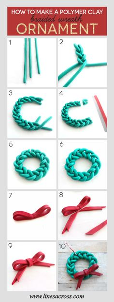 Make a handmade braided wreath ornament from clay