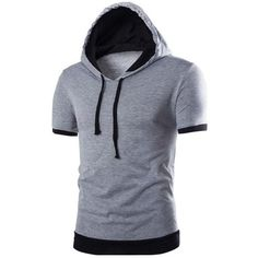 Men's Casual Hooded Short Sleeve Shirt with Patchwork Design