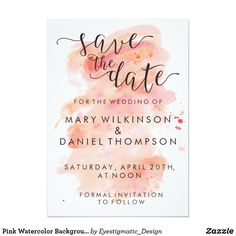 Pink Watercolor Background Wedding Save the Date. Order your personalized invite at Boardman Printing. Visit https://www.facebook.com/pg/BoardmanPrinting/services/