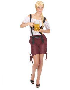 Wunderschönes Tiroler-Kostüm für Damen: Diese Tiroler Tracht ist für Frauen und besteht aus einer Bluse und einer Trägerhose (der Hut, die Gamaschen und die Schuhe sind im Set nicht inbegriffen).Die Bluse ist weiß und wird...