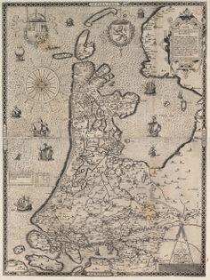 Kaart van Nederland. 'Nova et castigatior comitatus Hollandiae descriptio', Gerard de Jode, Antwerpen, 1565