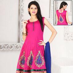 Pink Cotton Readymade Anarkali Churidar Kameez