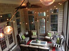 35 Awesome Patio Yard String Lights Ideas - 2020 Home design Porch String Lights, Backyard Covered Patios, Four Seasons Room, Three Season Porch, Three Season Room, Patio Lighting, Lighting Ideas, Porch Decorating, Decorating Ideas